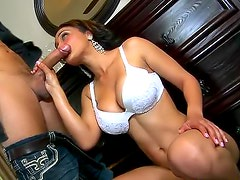 Horny ethnic slut with fake tits laid