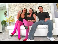 Pink stockings on his big ass ladies