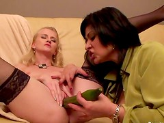 Ladies share big green toy