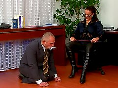 Leather boots babe dominates him