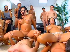 Orgy porn with many busty beauties