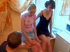 Blown by two horny teens