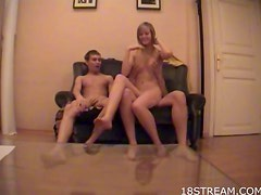 Spit roasted amateur Russian teen