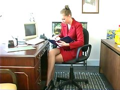 Watch the hottest new trainee masturbating in the office