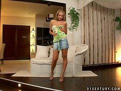 Olivya sucks a hard prick and gets fucked from behind