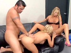 Two slim and horny blonde girls get fucked by their colleague