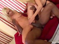 Black monster cock fucks a pair of white bitches