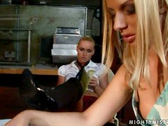 Debbie White gets tied up and dominated by blonde mistress Kathia Nobili