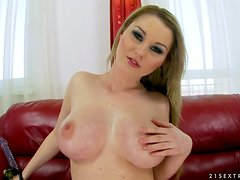 Slutty chick Antonya gets a chance to test her new toys