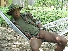 Ebony soldiers masturbating