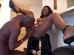 Hot black girl has big tits and loves sex
