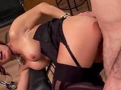 Glamorous girl fucked in a comfy chair