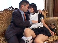 Seductive Japanese maid Mako Takeda gets her bearded pussy finger fucked