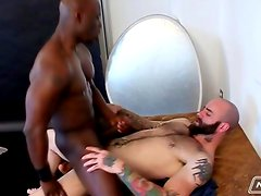 Sam Swift And Jay Black- Black Ass Riding On White Tattooed Cock