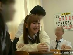 Pretty Japanese hottie gets fucked nice and deep in classroom