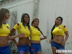 Latina Ladies Footy Team Bang Their Hot Coach