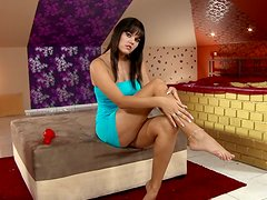 Rosee moans loudly while drilling her pussy with a dildo