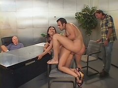 Mesmerizing Chinese slut Veronica Lynn gets pounded in doggy style in front of two kinky dudes