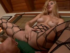 Blond hot number Annette Schwarz sticks her pedicured feet into stinky mouth of foot fetishist