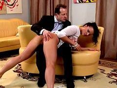 Horny secretary gets punished by her kinky boss and gets her ass smacked