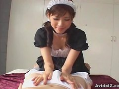 Horny Japanese Maid give the best blowjob ever (uncensored)