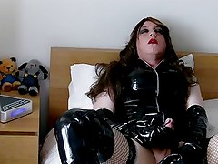 Fetish Transvestite in PVC and Crotch Boots