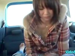 Asian Girl Giving Blowjob Fingered In The Back Of The Car