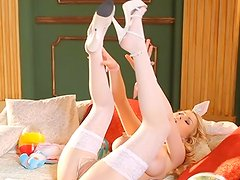 The spirit of Easter lingers as Antonia presents up inside her bunny ears and cottontail! that sensuous Hungarian blonde teases us first-ever in her pink lingerie, standing in A doorway, taking do