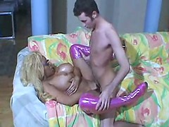 Buxom black slut Pamela Peeks is getting nailed bad in a missionary position
