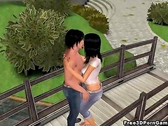 Hot 3D babe sucks cock and gets fucked in the park