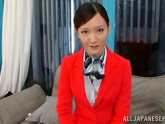 Japanese stewardess get fucked hard on a sofa