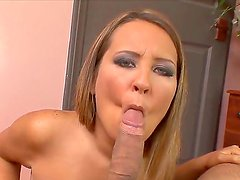 Horny slut Sierra Snow sucks her fuckers dick and gets a sperm in her face