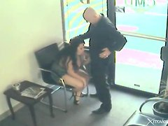 Wating room blowjob from a fat girl