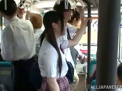 Suzu Tsubaki gets fucked from behind in a public bus