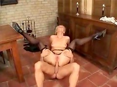 Drilling skinny blonde in business outfit