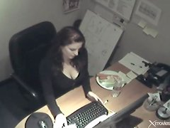 Beauty in office fucks pussy with a carrot