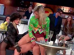 Slut fucked in the bar as friends look on