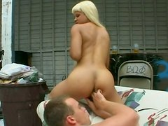 Long haired mulatto Velvet Rose provides a sleeping dude with a stout blowjob