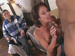 Horny brunette milf Vanessa Videl is down for fucking in front of other guys