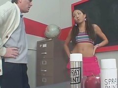 Skinny college chick Keeani Lei getting her pussy licked by her professor