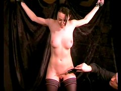 Electro shock play with a tied up busty girl