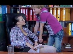 Dissolute office sweetpie finds an eager boyish mouth and brown eye for her strapon ram prick