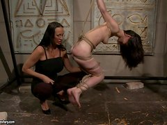 Aleksandra Black lets Mandy Bright fuck her smooth pussy with a toy