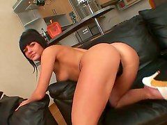 Gorgeous Bella Russa looks mightily hot with her sexy thong and wild dildo sucking