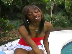 Young chocolate skinned girlfriend Cali in sexy shorts is not against to be fucked for the money