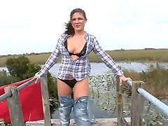 Beautiful skinny girl Miranda Kelly got her tight skirt on and is being filmed