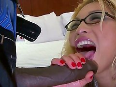 Lucky dude Sean Michaels is drilling his beautiful girlfriend in glasses, that has big boobies and nice