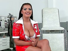 Interview with Jasmyne. This beautiful babe look so sexy as she sits there in her tight nurses uniform speaking about her life in