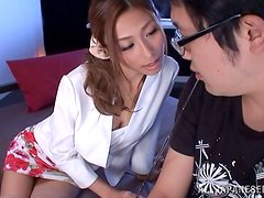 Sexy Japanese milf makes out with some guy and fucks him