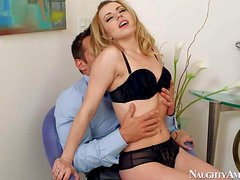 Arousing naughty blonde bitch with natural boobs and slim sexy